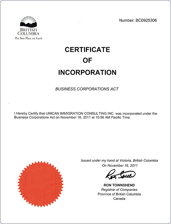 Unican- Certificate of Incorporation